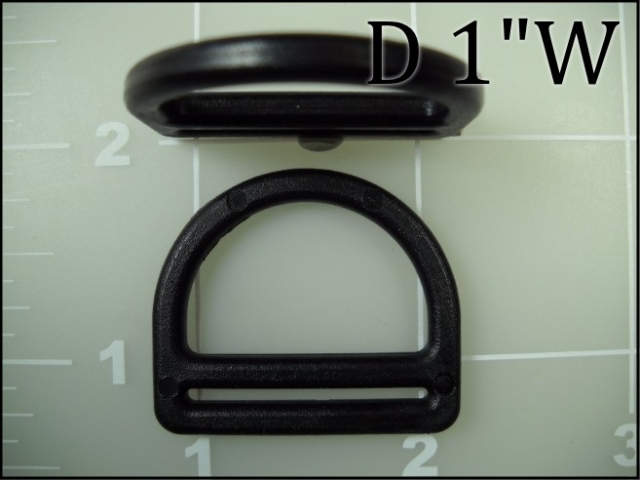 "1"" nylon black plastic dee ring with webbing slot"