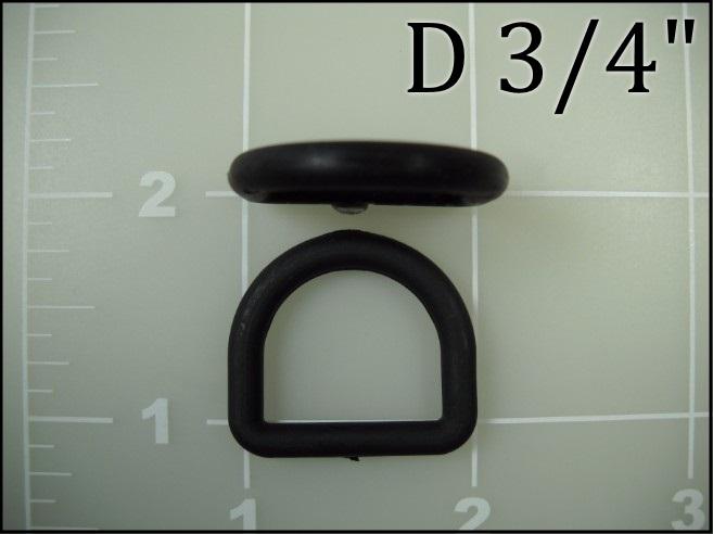 3/4 inch black plastic nylon dee ring light weight