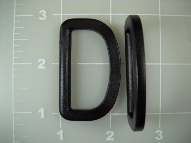 black acetal dee ring plastic