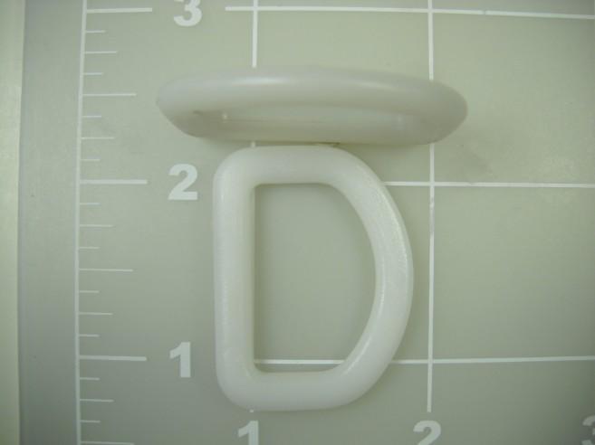 dee ring white acetal plastic