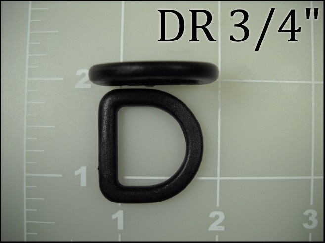 3/4 inch black plastic dee ring