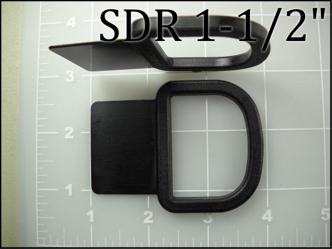 1-1/2 inch sewable dee ring black plastic