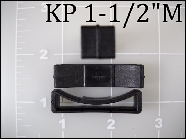 "1-1/2"" Black plastic poly keeper webbing"