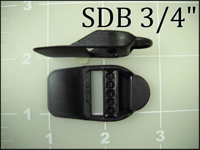 "3/4"" double bar buckle black plastic sewable nylon"