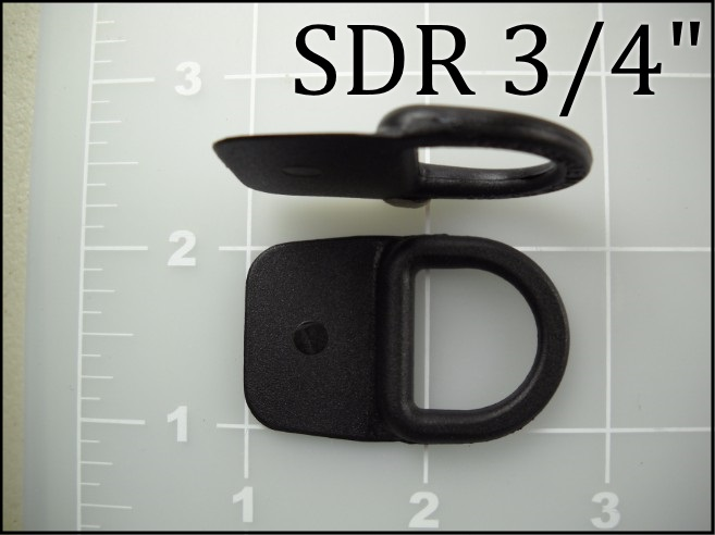 "SDR 3/4"" black nylon plastic sewable dee ring"