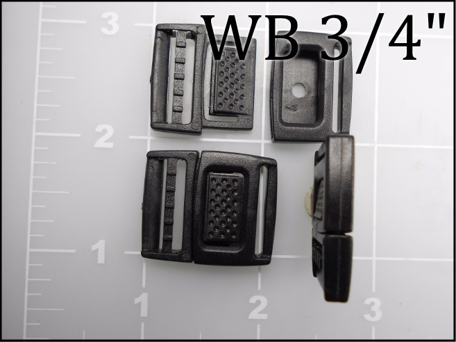 WB 34 (3/4 inch black acetal watch band buckle) ACW PLASTIC