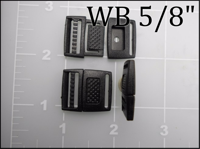 "5/8"" acetal watch band buckle black plastic WB 5/8"""