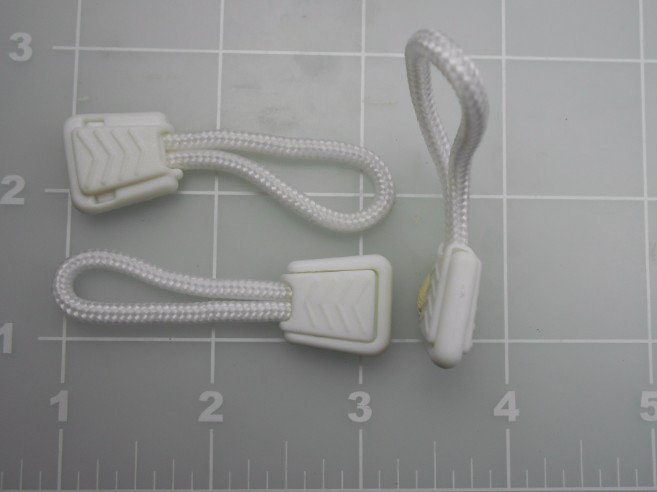 Zipper pull with cord white