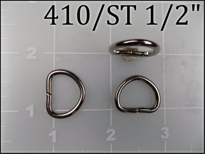 410ST 12 - - 1/2 inch nickel plated steel dee ring metal