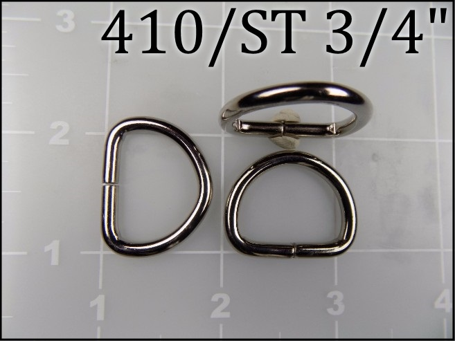 410ST 34 - -  3/4 inch nickel plated steel dee ring metal