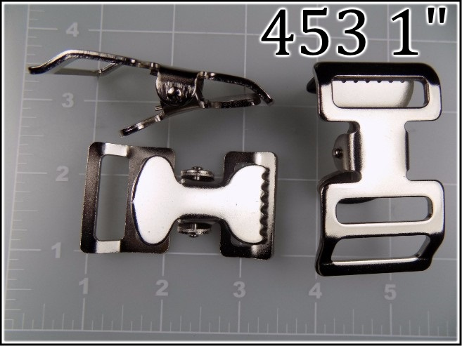 453 1  - -  1 inch nickel plated steel tourniquet buckle alligator jaws metal