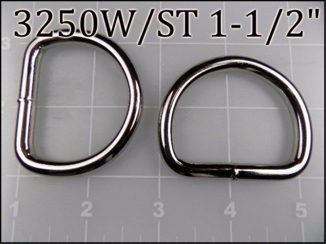3250WST 112    1-1/2 inch welded nickel plated steel dee ring  (.243 wire dia)