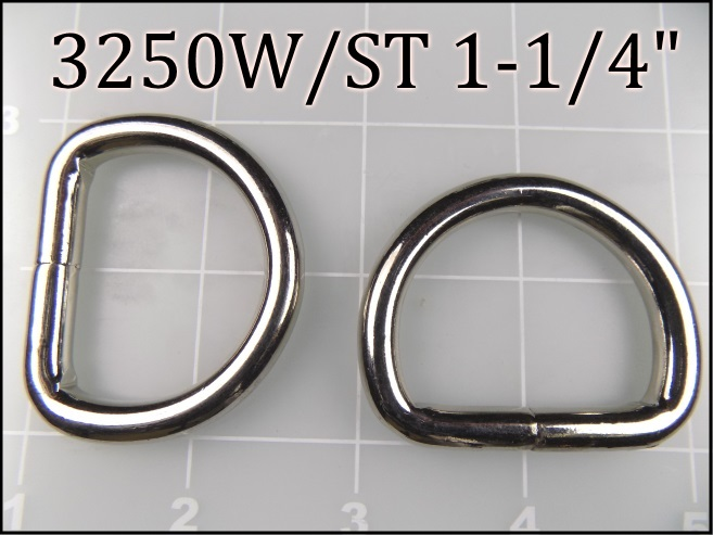 3250WST 114  - - 1-1/4 inch welded nickel plated steel dee ring (.243 wire dia)