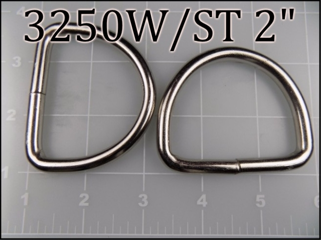 3250WST 2  - - 2 inch welded nickel plated steel dee ring (.26 wire dia)