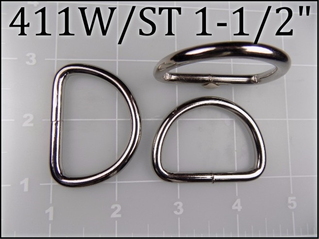 411WST 112 - -  1-1/2 inch nickel plated steel welded dee ring (.187 wire dia) metal