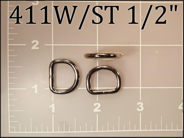 411WST 12 - - 1/2 inch nickel plated steel welded dee ring (.12 wire dia)