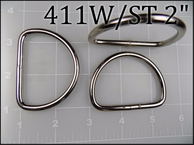 411WST 2 - - 2 inch nickel plated steel welded dee ring  (.187 wire dia) metal