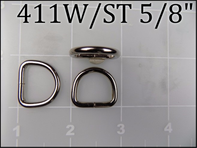 411WST 58 - - 5/8 inch nickel plated steel welded dee ring (.12 wire dia)
