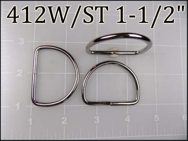 412WST 112  - -  1-1/2 inch Welded Nickel Plated Steel Dee Ring metal