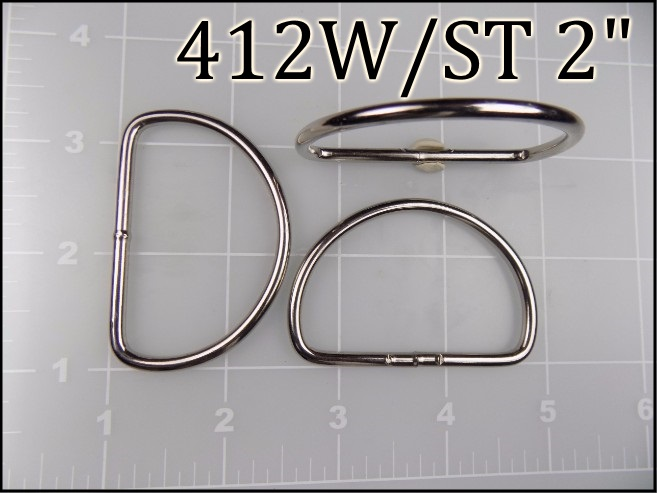 412WST 2 - - 2 inch welded nickel plated steel dee ring metal