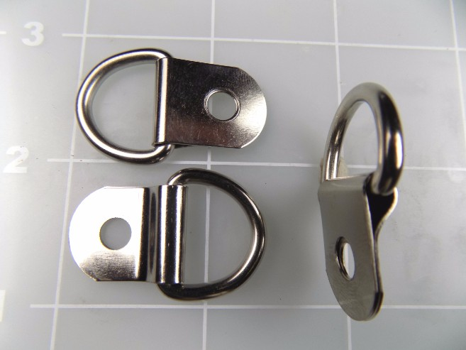 5/8 inch nickel plated steel dee ring with clip