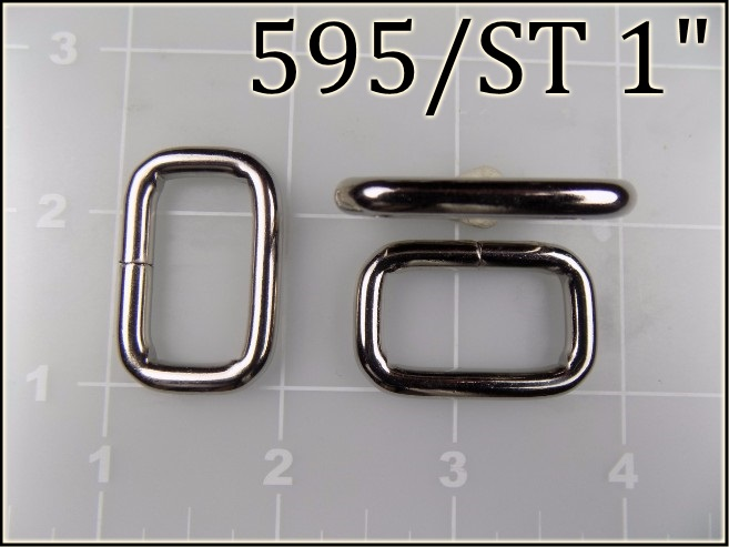 595ST 1  - - 1 inch nickel plated steel rectangular ring metal
