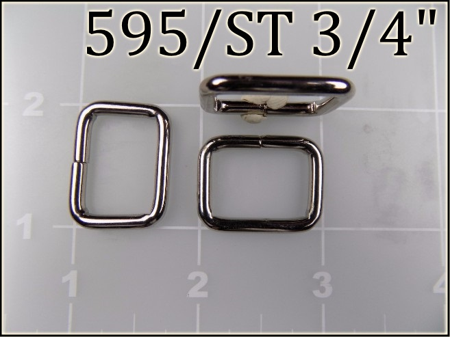 595ST 34 - -  3/4 inch nickel plated steel rectangular ring metal