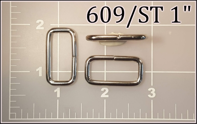 609ST 1  - - 1 inch nickel plated steel rectangular ring metal