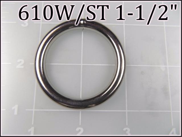 610WST 112  - - 1-1/2 inch nickel plated steel welded round ring metal