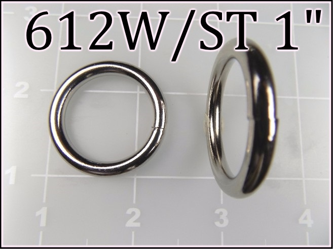 612WST 1  - - 1 inch nickel plated steel welded round ring metal