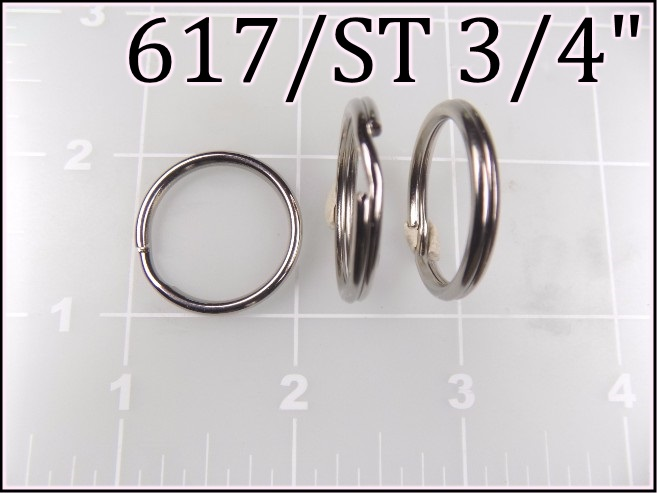 617ST 34  - -  3/4 inch nickel plated steel split ring metal