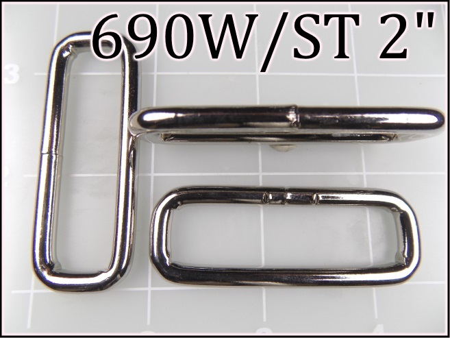 690WST 2 - -  2 inch nickel plated steel welded rectangular ring