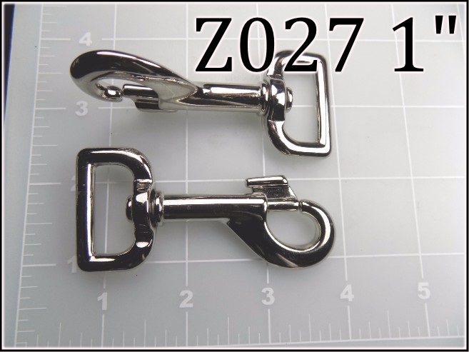 Z027 1 - -  1  inch nickel plated steel snap hook