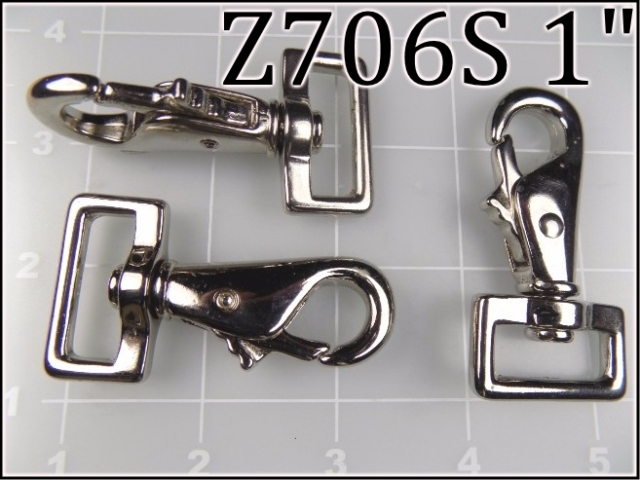 Z706S 1  - -  1 inch nickel plated steel snap hook