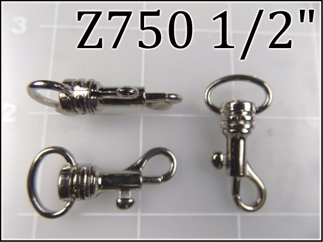 Z750 12  - -   1/2 inch nickel plated steel snap hook