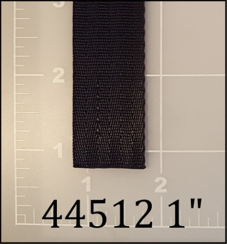 "polyester black mini seatbelt webbing 1"" ACW American Cord and Webbing AC&W 10601"