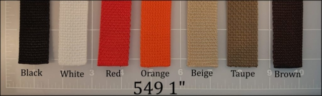 polypropylene black white red orange beige taupe brown webbing 1""