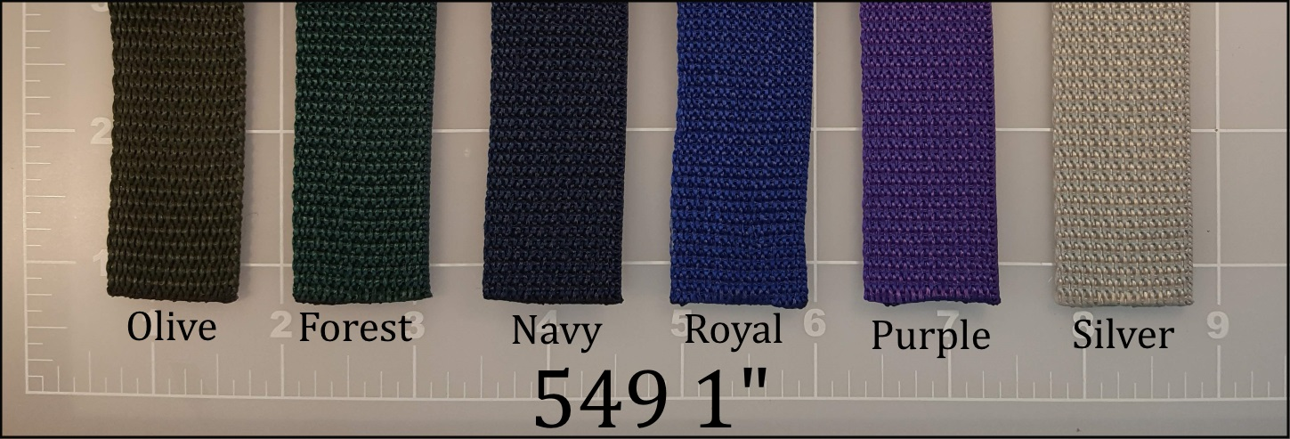 polypropylene olive forest navy royal blue purple silver webbing 1""
