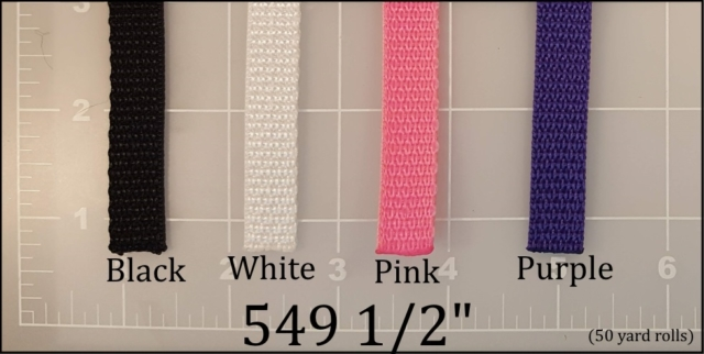 polypropylene black white pink purple webbing 1/2""
