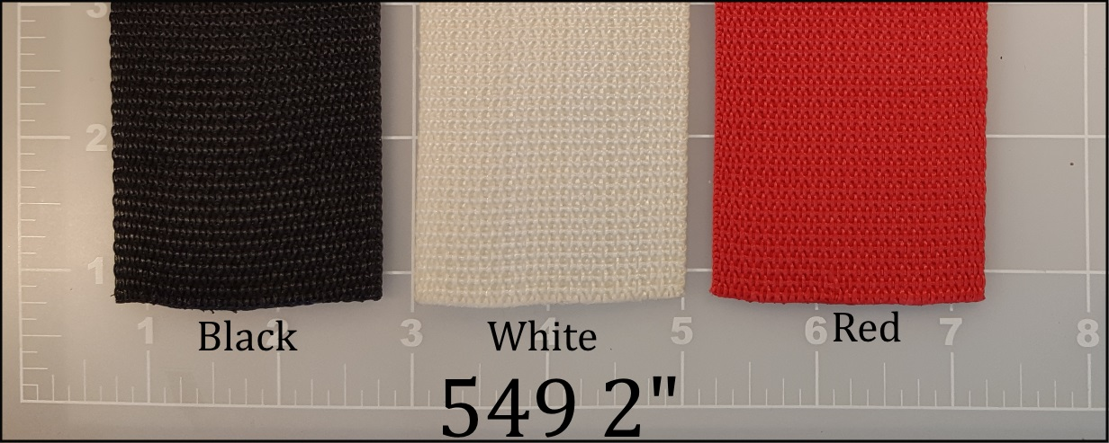 polypropylene black white red webbing 2""
