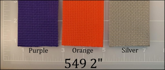 polypropylene purple orange silver webbing 2""