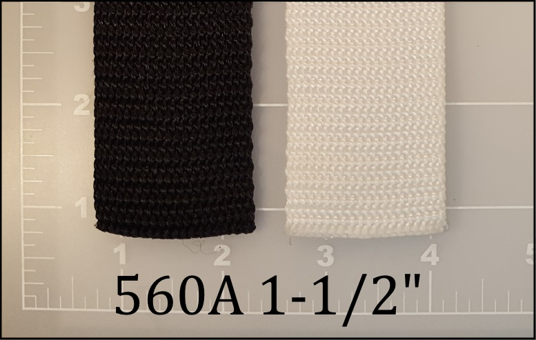 polypropylene black white webbing 1-1/2""