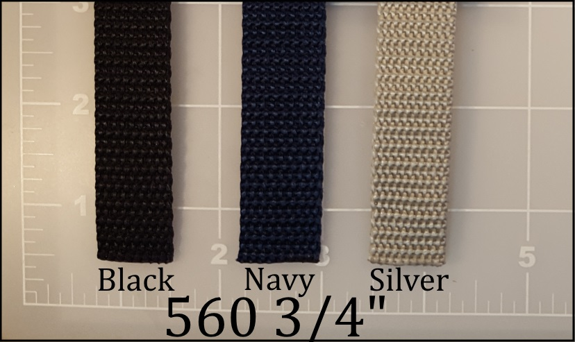 "polypropylene black navy blue silver webbing 3/4"""