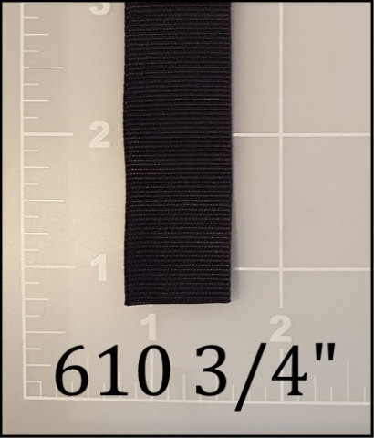 "nylon black binding tape 3/4"" ACW  AC&W American Cord and Webbing 05115 610"