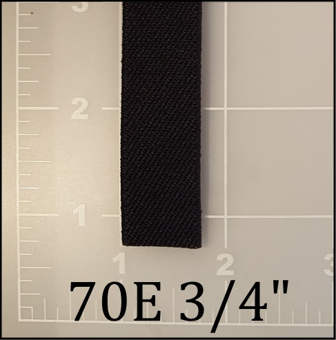 "black elastic webbing 3/4"" 70E ACW American Cord and Webbing AC&W"