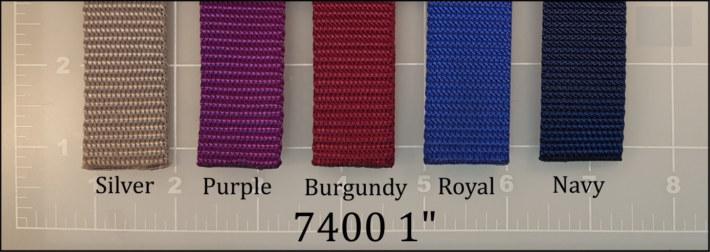 "nylon silver purple burgundy royal navy blue dog leash webbing 1"" ACW American Cord and Webbing AC&W 11515 12566 11028 10885 10880"