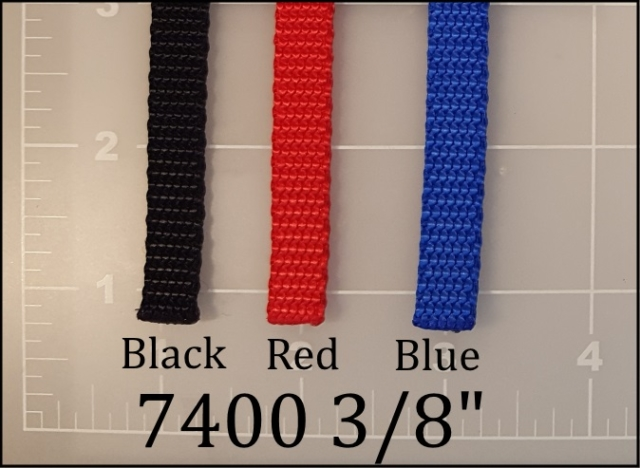"nylon black red blue dog leash webbing 3/8"" ACW American Cord and Webbing AC&W 00615 00624 00618"