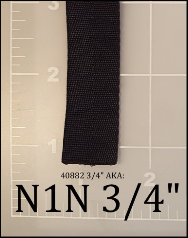 "nylon black webbing binding tape 3/4"" ACW  AC&W American Cord and Webbing 40882 05065"
