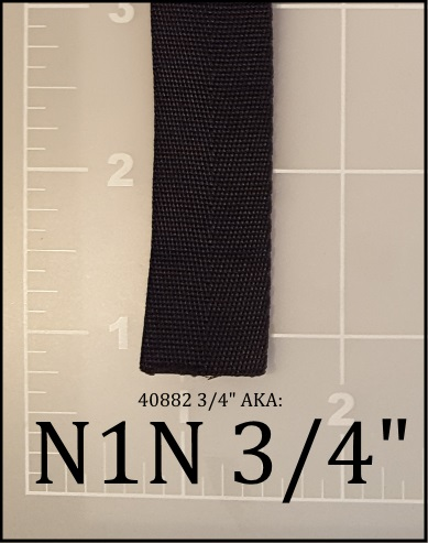 "nylon black webbing binding tape 3/4"" ACW  AC&W American Cord and Webbing 40882 05065"