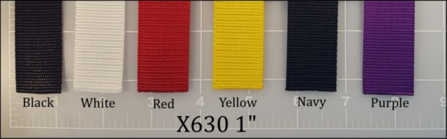"nylon black white red yellow navy blue purple webbing 1"" ACW American Cord and Webbing AC&W 10516 11909 12688 13461 10793 12563"